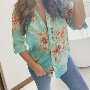 Blue tropical button up